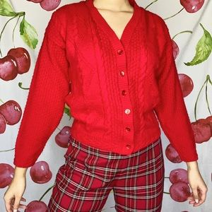 VTG Red Knit Cardigan